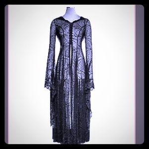 PunkRave - Gothic Spiderweb Long Coat